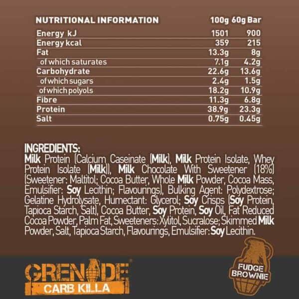 Grenade Carb Killa Dark Choco Fudge Brownie (12 x 60g)