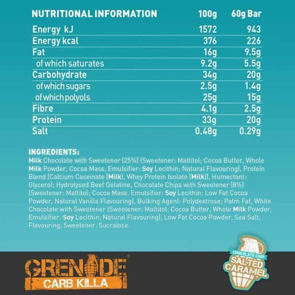 Grenade Carb Killa Chocolate Chips Salted Caramel (12 x 60g)