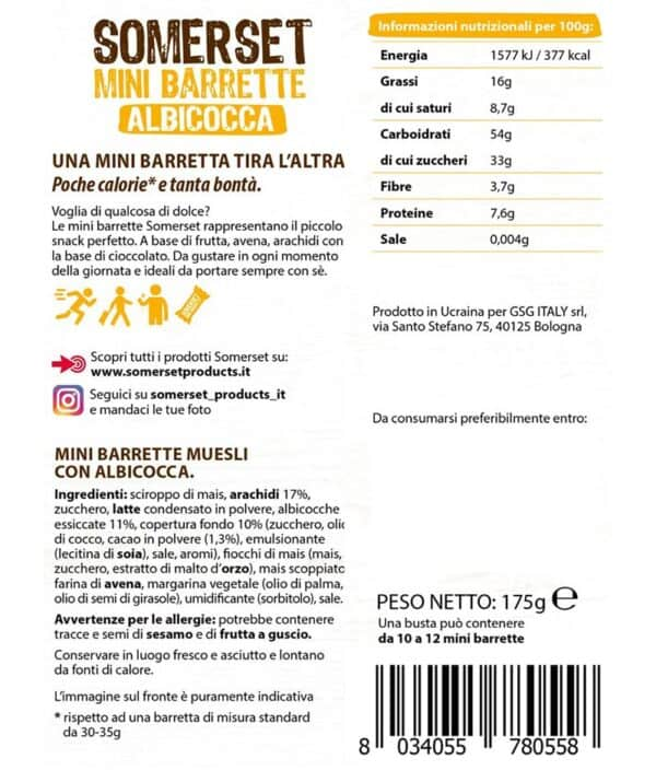 Mini barrette albicocca in busta da 175g